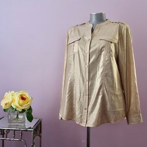 Chico's Long-Sleeve Soft Metallic Gold, 1, A4